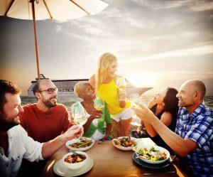 Friends Friendship Outdoor Dining Beach Concept