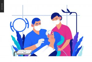 Medical insurance template - routine dental checkups - modern flat vector concept digital illustration of a dental procedure - patient, dentist checking teeth and a nurse, the dental office or laboratory